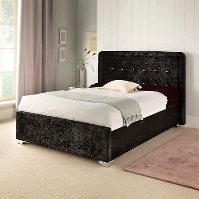 £175.20 • Buy King Size Bed 5ft Black Crushed Velvet Diamante Button Detail Headboard Low End