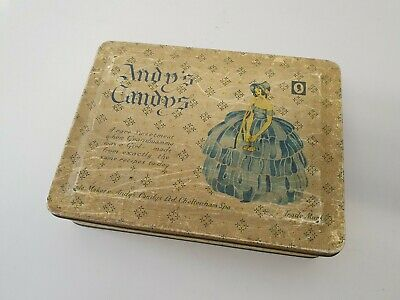 Vintage Andy's Candys Sweet Tin With Crinoline Lady 1950's Candy Collectable Box • 2£