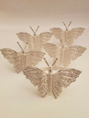 Set Of 5 Decorative Metal Napkin Rings Butterfly Design (A13) • 14£