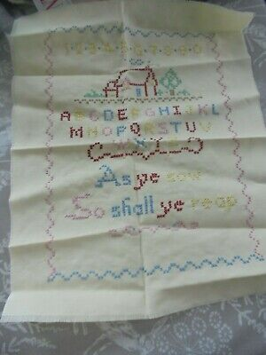 !Finished Cross Stitch Piece / Sampler 'As Ye Sow So Shall You Reap' • 4.99£