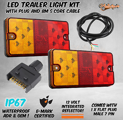 AU39.95 • Buy LED TRAILER TAIL LIGHT KIT PAIR PLUG 8m 5 CORE WIRE CARAVAN BOAT UTE FRONT SCREW