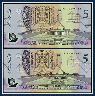 AU42 • Buy  Uncirculated Consecutive Pair $5 Polymer Banknotes 1992 R-214  AA 19 906 455/56