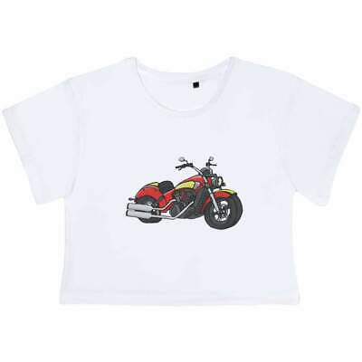 'Red Motorcycle' Women's Cotton Crop Tops (CO024728) • 13.99£