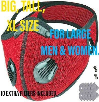 $ CDN19.76 • Buy BIG MAN XXL Face Mask With Double Exhalation Valves+10 Filters,2 Xtra Valves