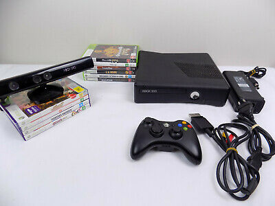 AU215.10 • Buy Like New Xbox 360 Slim Console + Wireless Controller + 10x Games + Kinect Camera