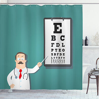 Eye Chart Shower Curtain Optician Doctor Snellen • 28.99£