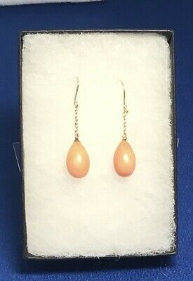 9ct Gold & Vintage Coral Drop Earrings,Short Drop, 9ct Trace Chain • 28£