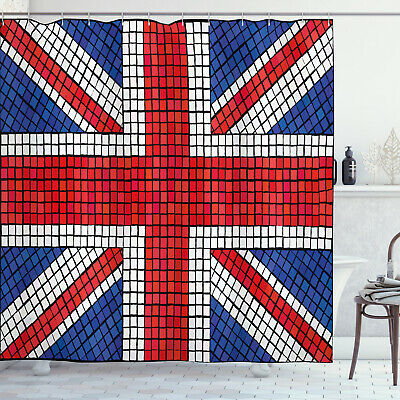 Union Jack Shower Curtain Mosaic British Flag • 27.99£