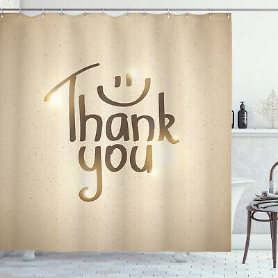 Thank You Shower Curtain Simple Words Smiling Sign • 23.99£