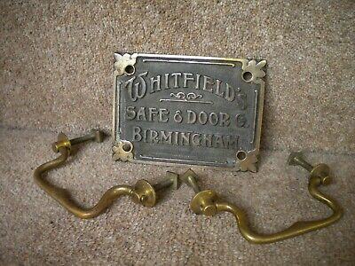 Genuine Vintage WHITFIELDs Safe Door Co Ltd Birmingham Brass Sign & Two Handles • 4.99£