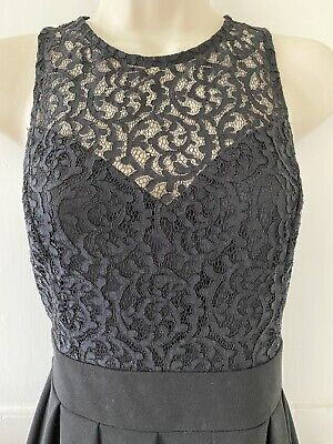 £10 • Buy WalG Black Fit And Flare Skater Mini Dress Lace Bodice Size M 10