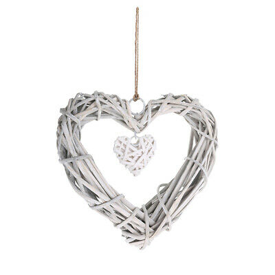 Hanging Natural White Wicker Love Hearts Willow Home Wedding Party Decor Gift • 5.16£