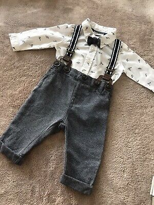 Gorgeous Next Baby Boy Outfit 0-3 Mth Dinosour Shirt Bow Tie Trosers & Braces • 6.99£