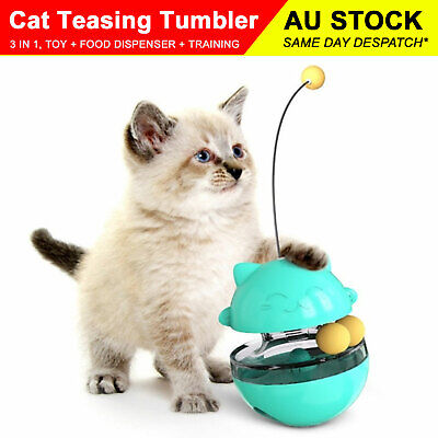AU17.99 • Buy Pet Cat Tumbler Teasing Toy Food Slow Feeder Dispenser 3 In 1 Interactive Ball