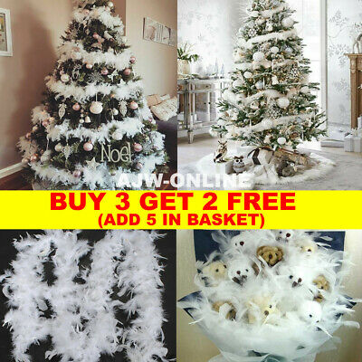 2M Christmas Tree White Feather Boa Strip Xmas Ribbon Party Garland Decor • 3.99£
