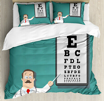 Eye Chart Duvet Cover Set Optician Doctor Snellen • 60.99£