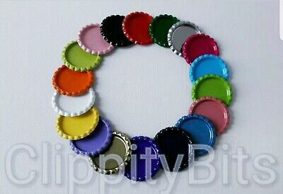 £3.60 • Buy 10 X COLOURED 1  BOTTLE CAPS FLATTENED FLAT FOR IMAGES HAIR BOWS KEYRINGS CRAFTS