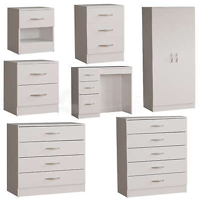 White Modern Chest Of Drawers Bedside Table Wardrobe 1 2 3 4 5 Drawer Bedroom • 54.95£