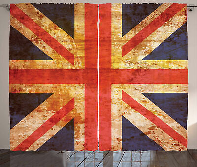 England Curtains Union Jack Motif Grunge • 55.99£