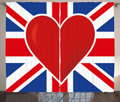 Union Jack Curtains Flag Big Red Heart • 51.99£