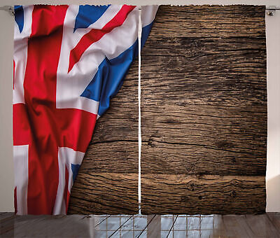 Union Jack Curtains Flag On Oak Board • 51.99£