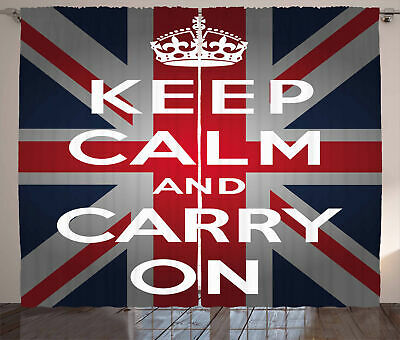 Union Jack Curtains Words Crown UK Flag • 51.99£