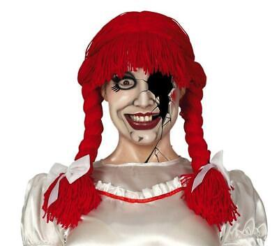 £9.89 • Buy Red Rag Doll Annabelle Wool Wig Plaits With Bows Fancy Dress Halloween