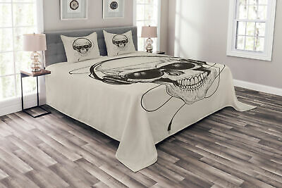 Music Bedspread Retro Skull With Headphones • 55.99£