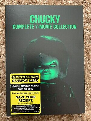 Chucky Child's Play 7 Films Glow In The Dark Cover DVD Limited Edition Sealed • 32.10£
