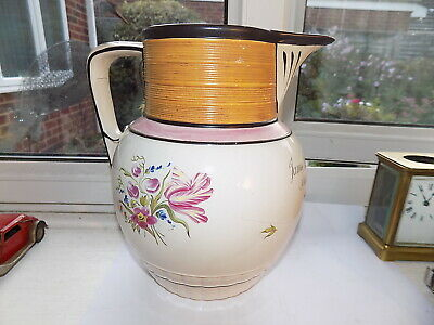 LARGE GEORGIAN 1801 DATED PEARL WARE JUG HAND PAINTED & INSCRIPTION 22 Cm Tall • 24.99£