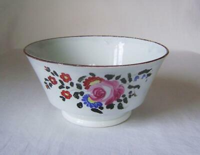 Pearlware 16.5 Cm Wide Bowl: London Shape With Enamel Flowers & Brown Rim • 20£