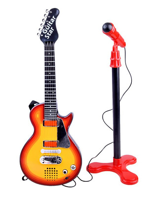 Children's Toy Electric Guitar + Microphone With Stand NEW SALE • 23.99£