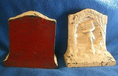 $50 • Buy Vintage Cast Bookend Pair Nude Male Carrying Books Thru Portal (Gr Mythology?)