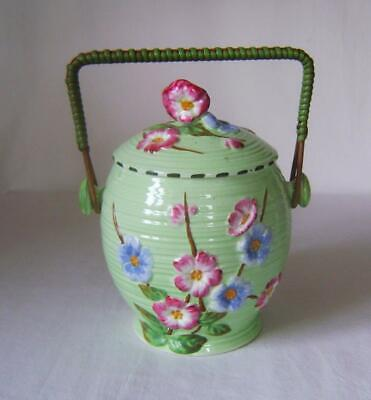 Maling Ware Green Floral Biscuit Barrel With Wicker Handle • 10£
