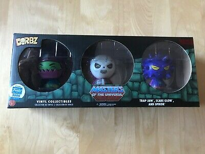 $12 • Buy Dorbz Masters Of The Universe Trap Jaw, Scare Glow, Spikor (3-pack) Funko Shop
