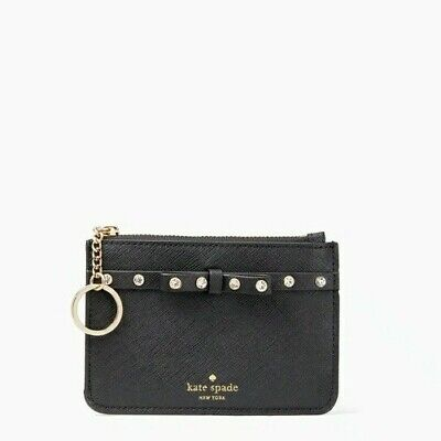 $ CDN23.73 • Buy NWT Kate Spade Wallet Card Holder Laurel Way Jeweled Bitsy Black Keyring Chain