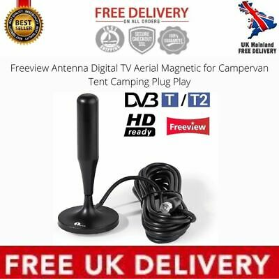 Freeview Antenna Digital TV Aerial Magnetic For Campervan Tent Camping Plug Play • 12.29£
