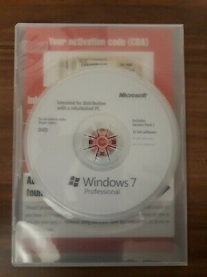 Microsoft Windows 7 Professional 32-bit SP1 Vollversion DVD Englisch English • 25.90£