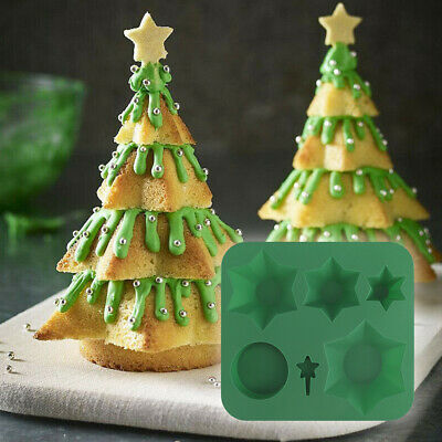 Silicone Christmas Tree Chocolate Cake Soap Jelly Ice Tray Wax Mold Baking Mould • 5.99£