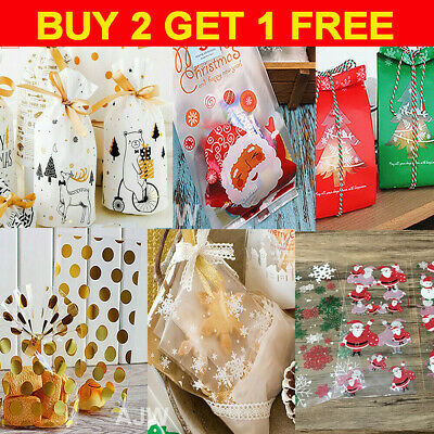 £4.59 • Buy 50 X Christmas Cellophane Bags Party Cello Cookie Sweet Candy Gift Biscuit Bag