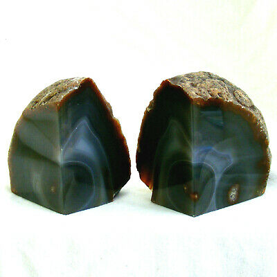 Brown Grey Agate Bookends Extra Large Polished Natural Geode 1862g 20cm • 44£