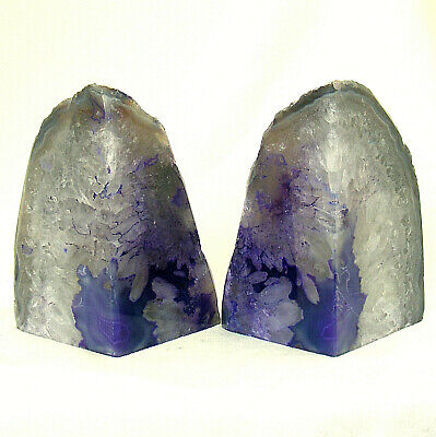 Purple Grey Agate Bookend Set With Quartz Crystal Large Polished Geode 15.5cm • 39.50£