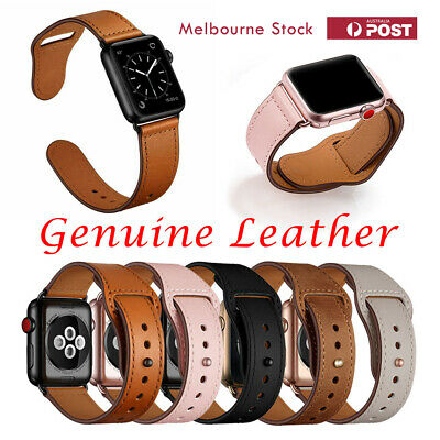 AU12.99 • Buy Genuine Leather Strap IWatch Band For Apple Watch Series 6 5 4 3 2 1 SE 40mm 44