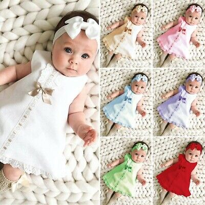 Newborn Infant Baby Girl Solid Lace Short Sleeve Dress Bow Headband Set Clothes • 8.81£
