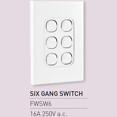 AU10.95 • Buy 1 X Vynco Vertical Wall Light Switch Outlet 6 Six Gang 16A 250V White