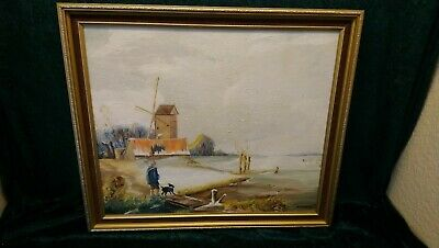 Hunting Scene By River,oil Painting On Board By K.pattson In Excellent Condition • 29.95£