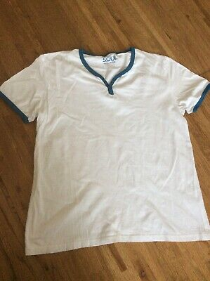 55 Soul T.shirt. Large. White With Blue Trim • 0.99£