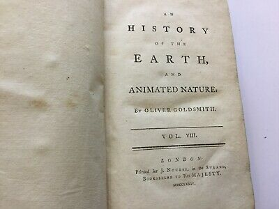 1774 -  HISTORY OF THE EARTH & ANIMATED NATURE BY OLIVER GOLDSMITH Vol. VIII • 49.95£