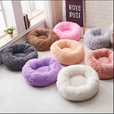 Comfy Calming Dog/Cat Bed Round Super Soft Plush Pet Bed Marshmallow Candycolors • 25.99£