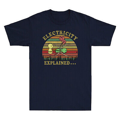 $ CDN20.84 • Buy Electricity Explained Vintage T-Shirt Ohm Volt Ampe Retro Men's Cotton T-Shirt